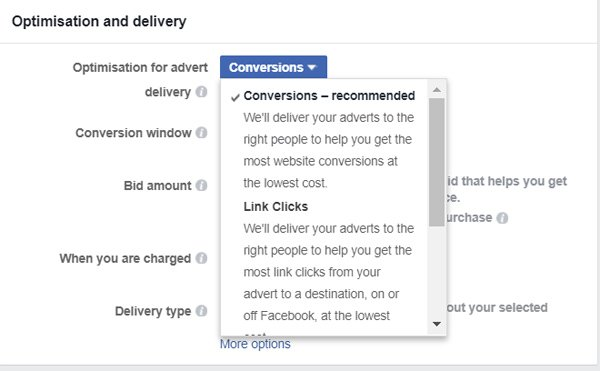 fb optimize for conversions